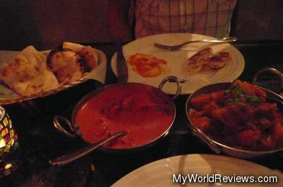 Aloo Gobhi, Chicken Tikka Masala, and Nan Bread