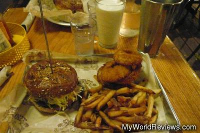 Original Bare Burger with Onion Rings and Fries and a Vanilla Milkshake