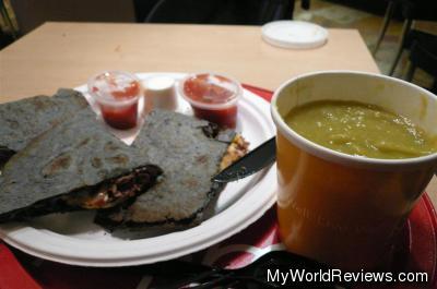Quesadilla and Pea Soup