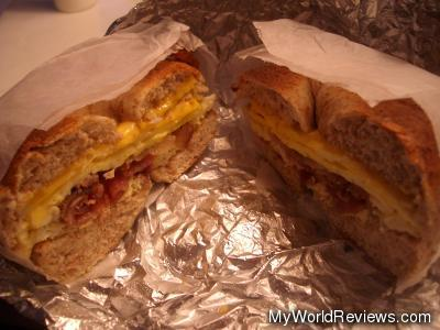 Eggs, Cheese, and Bacon on a Toasted Whole Wheat Bagel