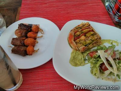 Bacon Wrapped Dates and Grilled Vegetable Terrine
