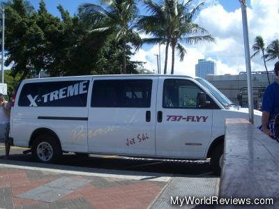 The van that drove us to the dock