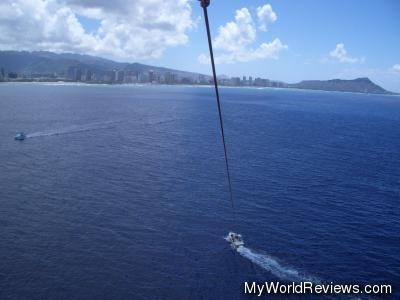 Waikiki Beach and Diamond Head Crater from the air, while parasailing