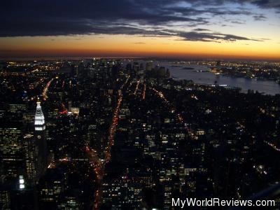 A night time view from the Empire State Building Observatory