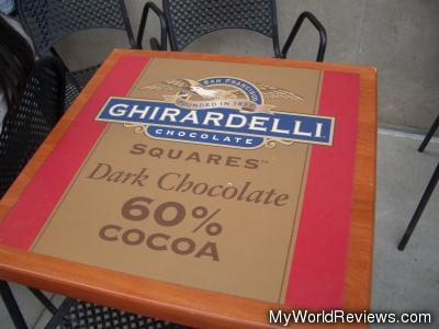 An outdoor table shaped like a Ghirardelli chocoalte