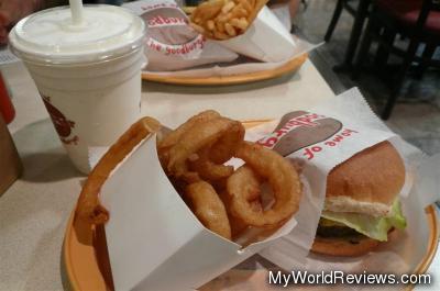 Burger, Onion Rings, and Milkshake