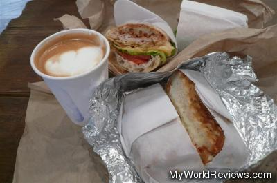 Small Latte, Turkey Picnic, and Grilled Cheese