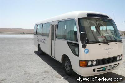 The bus that drove us to Petra in Jordan