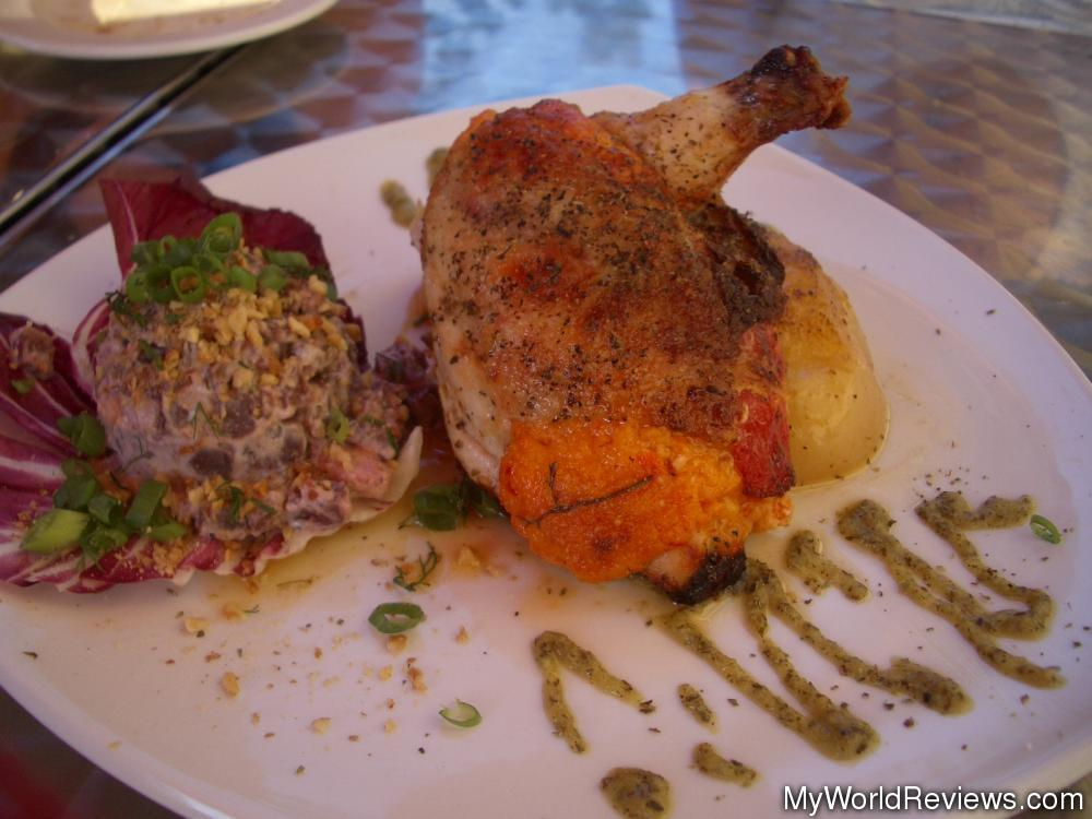 ... stuffed with roasted red peppers and feta cheese. Served with roasted