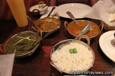 Left to right: Sag Aloo, Baingan Bhurta, Dal Makhani