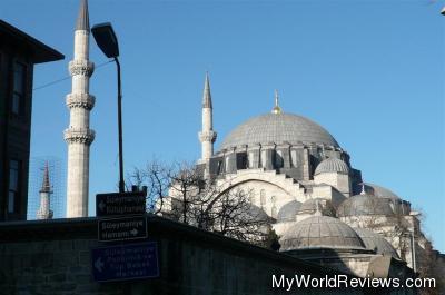 The nearby Suleymaniye Cami Mosque