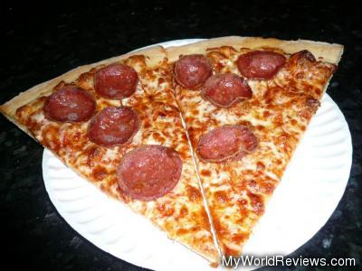 Two slices of pepperoni pizza