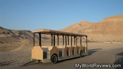 We took a tram car like this to the base of the temple
