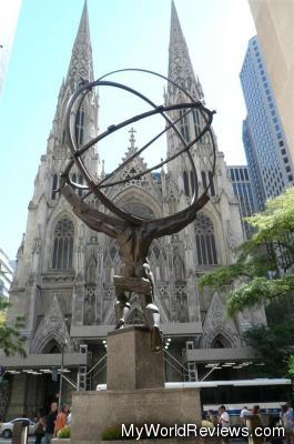 Atlas statue and St. Patrick's Cathedral