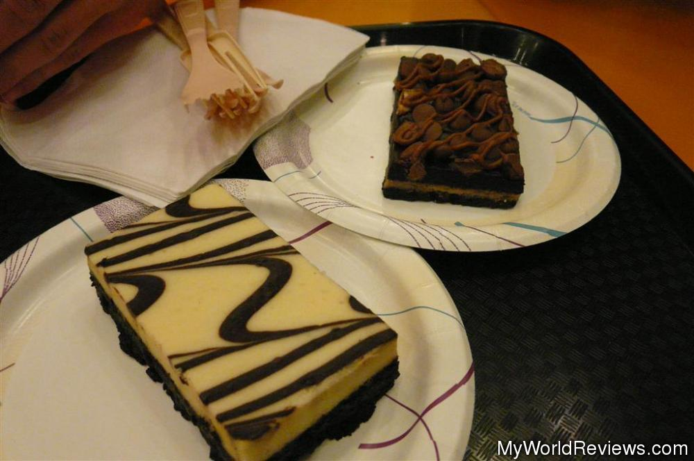 Marble cheesecake bar and snickers bar