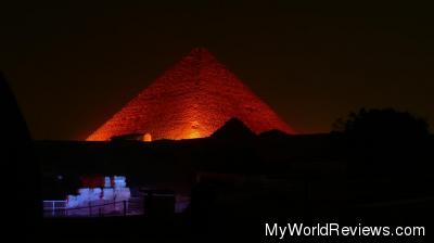 The great pyramid lit up in red