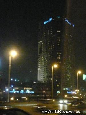 A view of the hotel at night