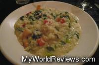 Risotto with Shrimp, roasted peppers, and spinach