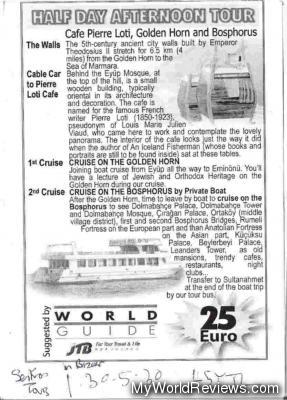 The itinerary pamphlet outlining the tour