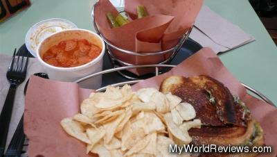 Roasted Tomato Soup and Grilled Two Cheese Sandwich