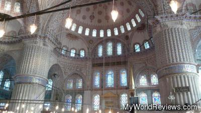 The walls and ceiling of the Blue Mosque