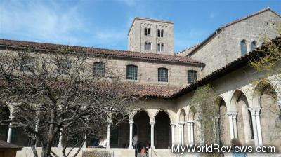 One of the outdoor cloisters with a garden