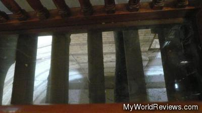 The glass floor in the church - you can see the fortress walls underneath