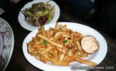Sides: Mushrooms & Asparagus and French Fries