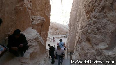 At the stairs at the tomb of Tuthmosis III