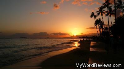 Sunset from Waikiki Beach