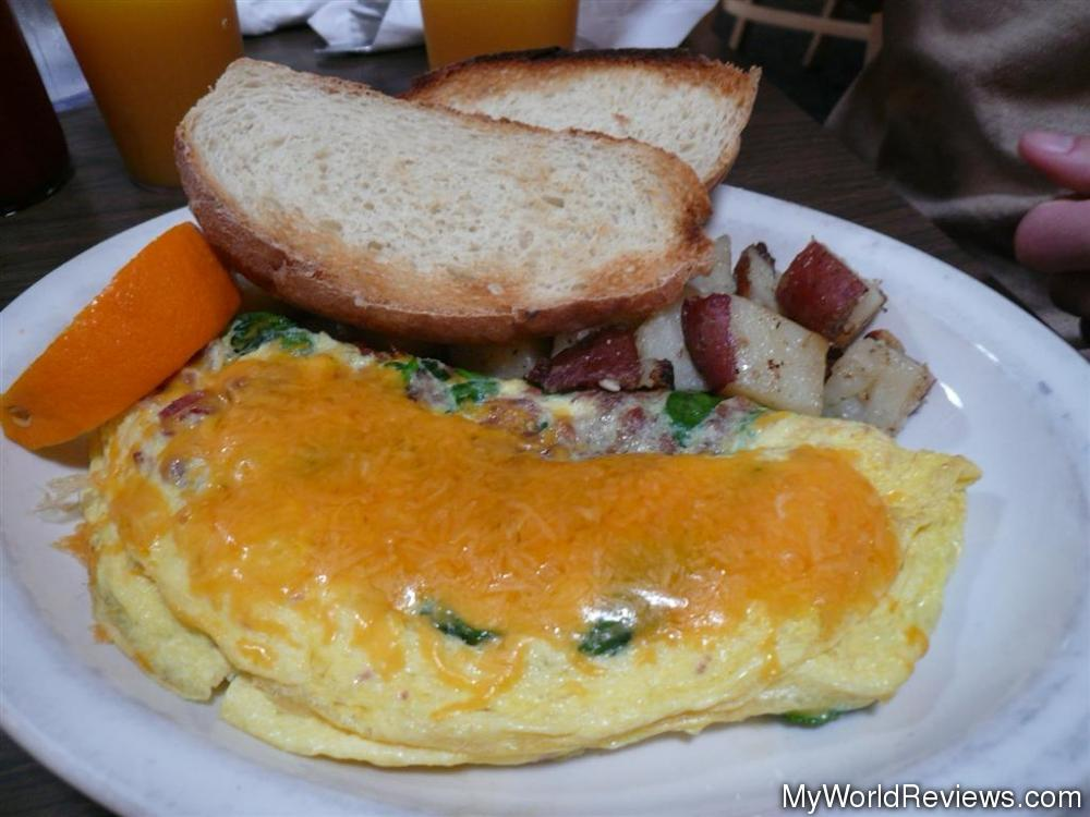 Spinach, Bacon, Cheddar Omelette